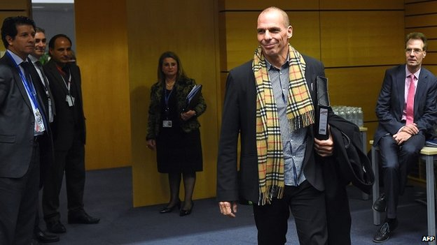 Yanis Varoufakis arrives for an emergency Eurogroup finance ministers meeting at the European Council in Brussels - 11 February 2015
