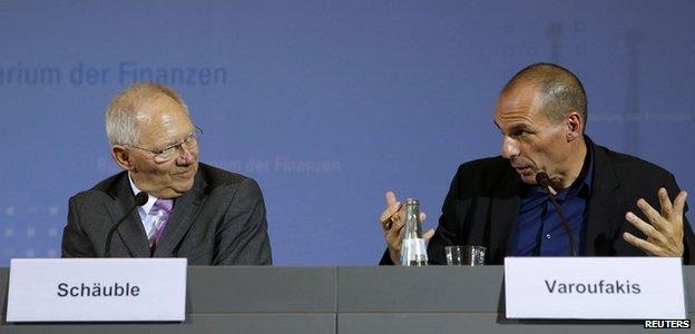 German Finance Minister Wolfgang Schaeuble, left, and Greek Finance Minister Yanis Varoufakis in Berlin, Germany - 5 February 2015
