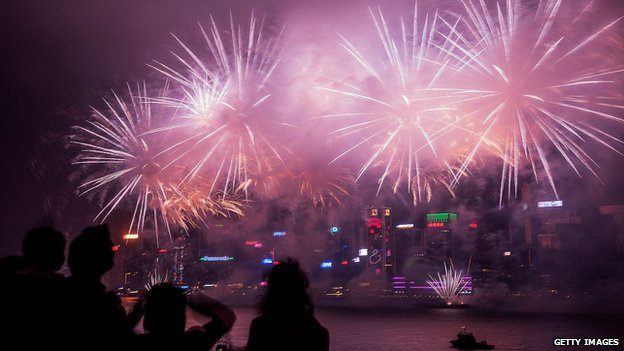 Fireworks explode over Hong Kong to celebrate the Lunar New Year.