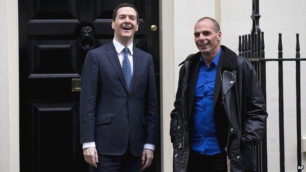 UK Chancellor George Osborne, left, and Greek Finance Minister Yanis Varoufakis outside 11 Downing Street in London - 2 February 2015