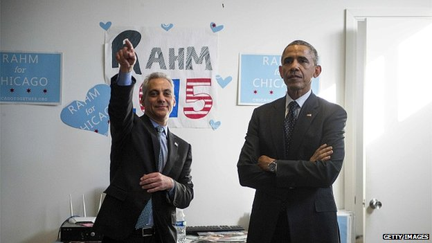 Chicago Mayor Rahm Emanuel and President Barack Obama.