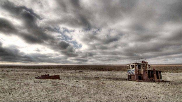 Shipwreck in the Aral Sea region