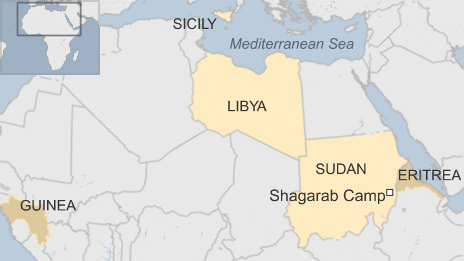 Map showing Eritrea, Sudan, Guinea, Libya and Sicily