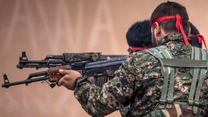 YPG fighters at a training camp in Ras al-Ain, Syria