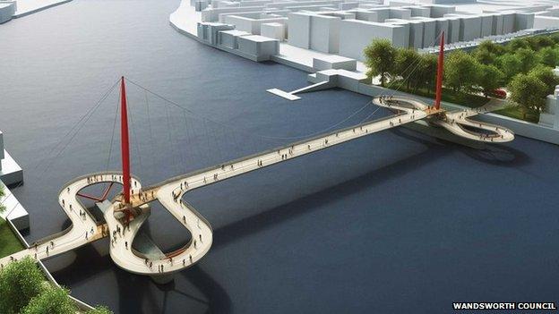 Nine elms to pimlico 39 s 40m bridge designs unveiled bbc news for Design bridge london