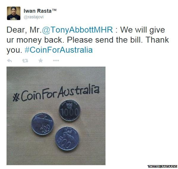#CoinforAustralia tweet with picture of coins
