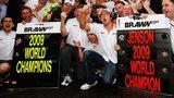 The Brawn team celebrates winning both world titles