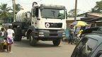 Practice run of a Red Cross truck which will be carrying Ebola-infected human waste