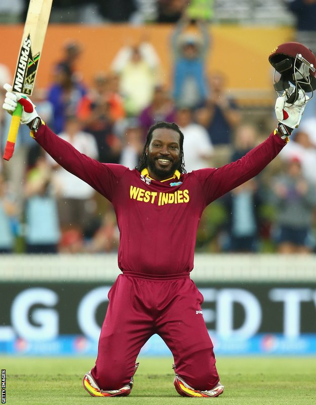 Gayle celebrates his double hundred