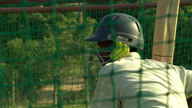 Cricket player in nets in South Africa