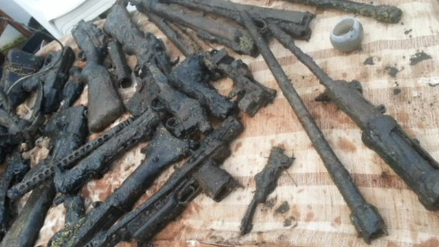 Guns Cache Found In Somerset River Bbc News
