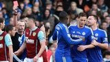 Chelsea midfielder Nemanja Matic is sent off against Burnley