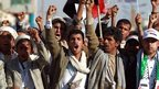 Houthi supporters demonstrate in Sanaa, Yemen, on 20 February 2015