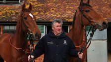 Trainer Paul Nicholls pictured with Silviniaco Conti and Sam Winner