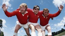 The Pontypool front row in Wales kit