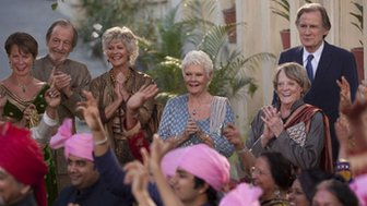 L to R: Celia Imrie, Ronald Pickup, Diana Hardcastle, Dame Judi Dench, Dame Maggie Smith and Bill Nighy in The Second Best Exotic Marigold Hotel