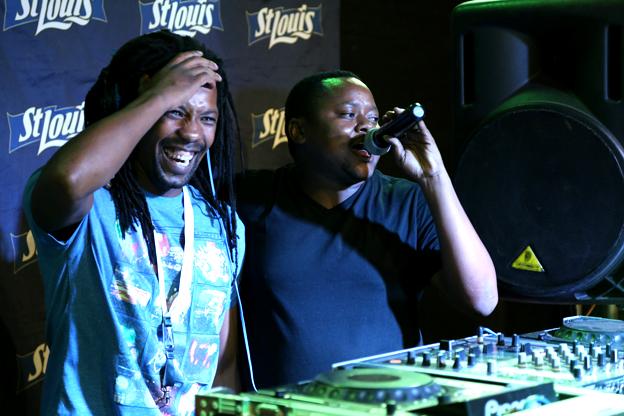 Two DJs at festival