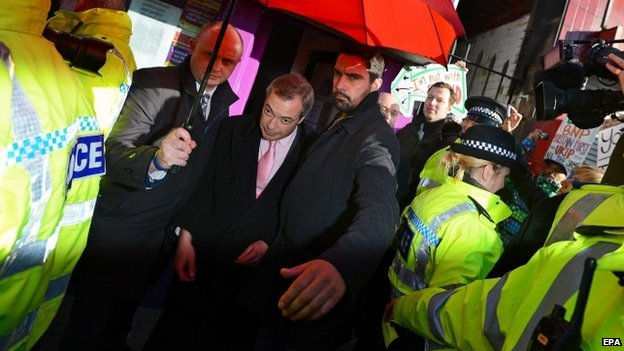 Nigel Farage leaves under police escort after a protest in Rotherham