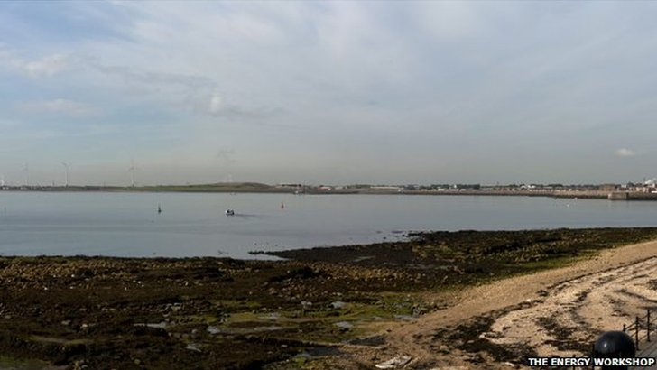 View from Hartlepool headland showing proposed wind turbines