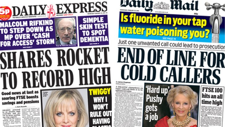 Express and Mail front pages