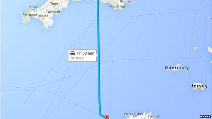 Route from Roscoff to Newton Abbot