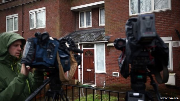 Journalists gathered outside a home in west London where Mohammed Emwazi is believed to have once lived