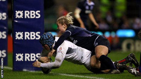 Rochelle Clark dives over to score a try against Scotland in last year's Six Nations