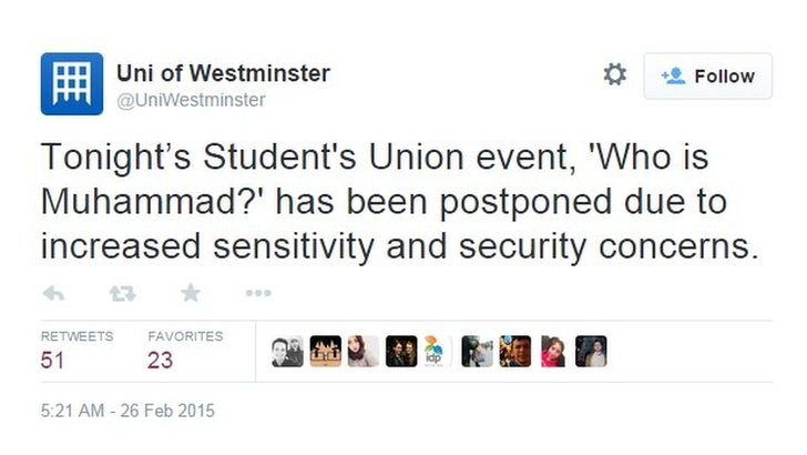 University tweet