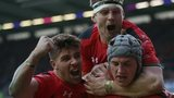 Wales celebrate a try against Scotland