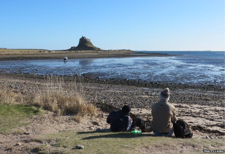 The view of Lindisfarne Castle