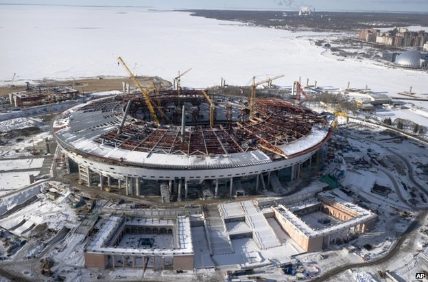 The new Zenit Stadium which will host matches of the 2018 World Cup in St Petersburg, 16 February