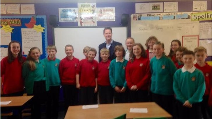 Nick Clegg with schoolchildren from Bradfield Dungworth primary in Sheffield