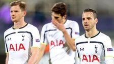 Roberto Soldado, Federico Fazio and Jan Vertonghen of Tottenham