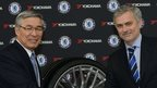 Yokohama Rubber chairman Tadanobu Nagumo with Chelsea boss Jose Mourinho