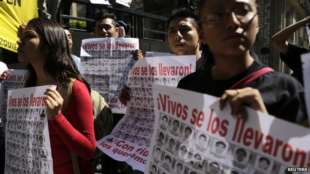 March for missing Mexican students in Mexico City. File photo