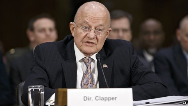 Director of National Intelligence James Clapper testifies on Capitol Hill in Washington, Thursday, Feb. 26, 2015