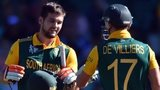 South Africa's batsmen Rilee Rossouw (left) and AB de Villiers (right)
