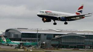 A British Airways aircraft lands at Dublin Airport