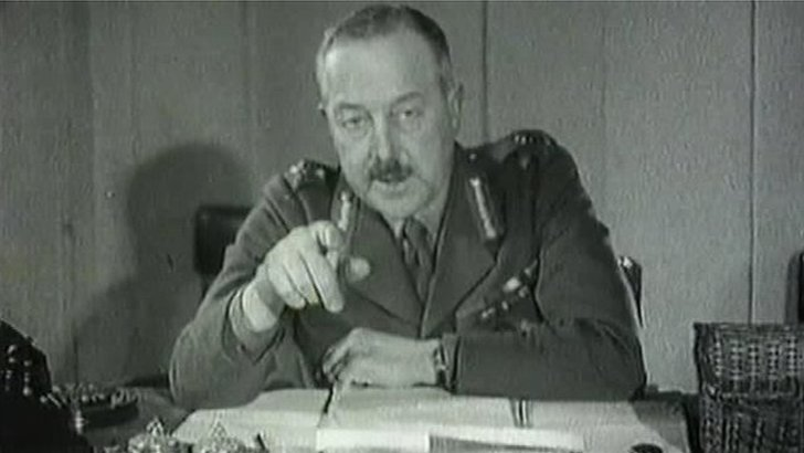 Major General V.H.B Majendie, commanding officer for Northern Ireland, appeals for support for the Ulster Home Guard in this recruitment video from 1942.