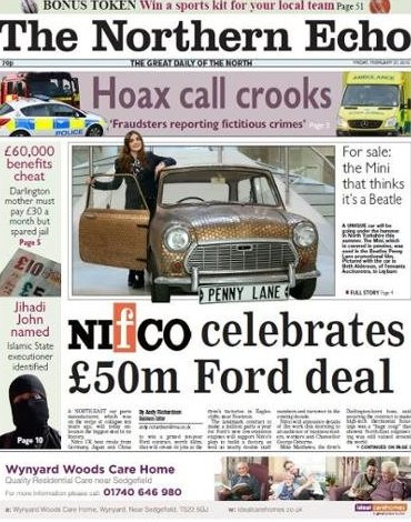 The Northern Echo front page