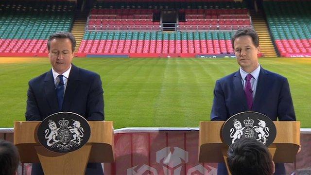 David Cameron and Nick Clegg at Millennium Stadium