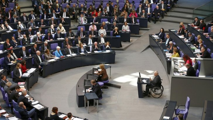 German Finance Minister Wolfgang Schaeuble addresses a session of the Bundestag