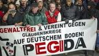 Pegida supporters march in Dresden, Germany on 15 December 2014