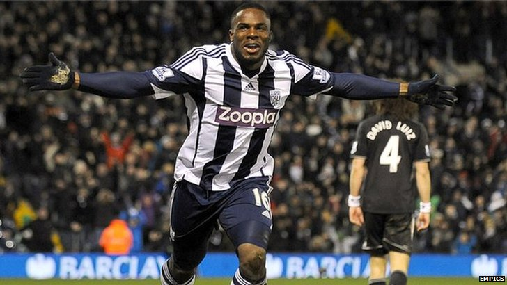Victor Anichebe celebrates his equaliser against Chelsea at The Hawthorns