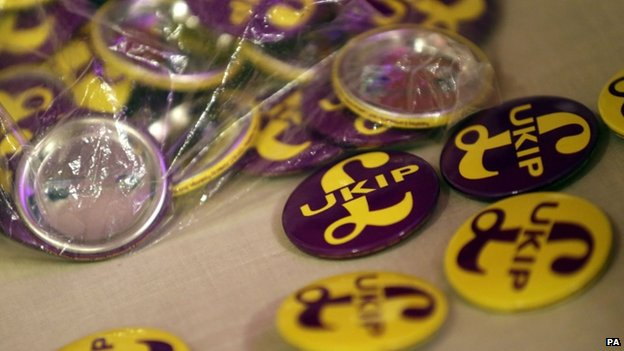 UKIP badges on sale at its spring conference