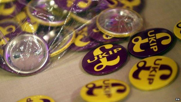 UKIP badges on sale at its spring conference