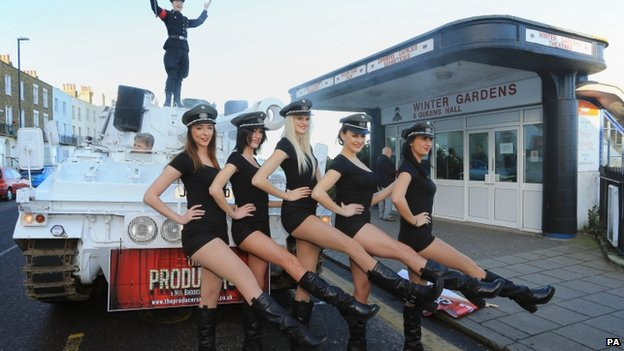Dancers promoting the musical The Producers in Margate