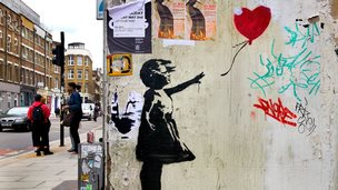 Banksy image of girl letting go of heart-shaped balloon