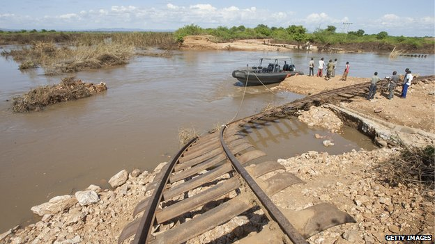 Broken railway track in Malawi