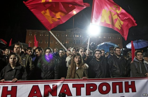 Communist protesters in Athens, 27 February